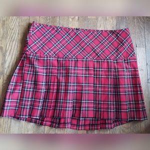 Torrid Red Black Plaid Skirt Pleated School Girl